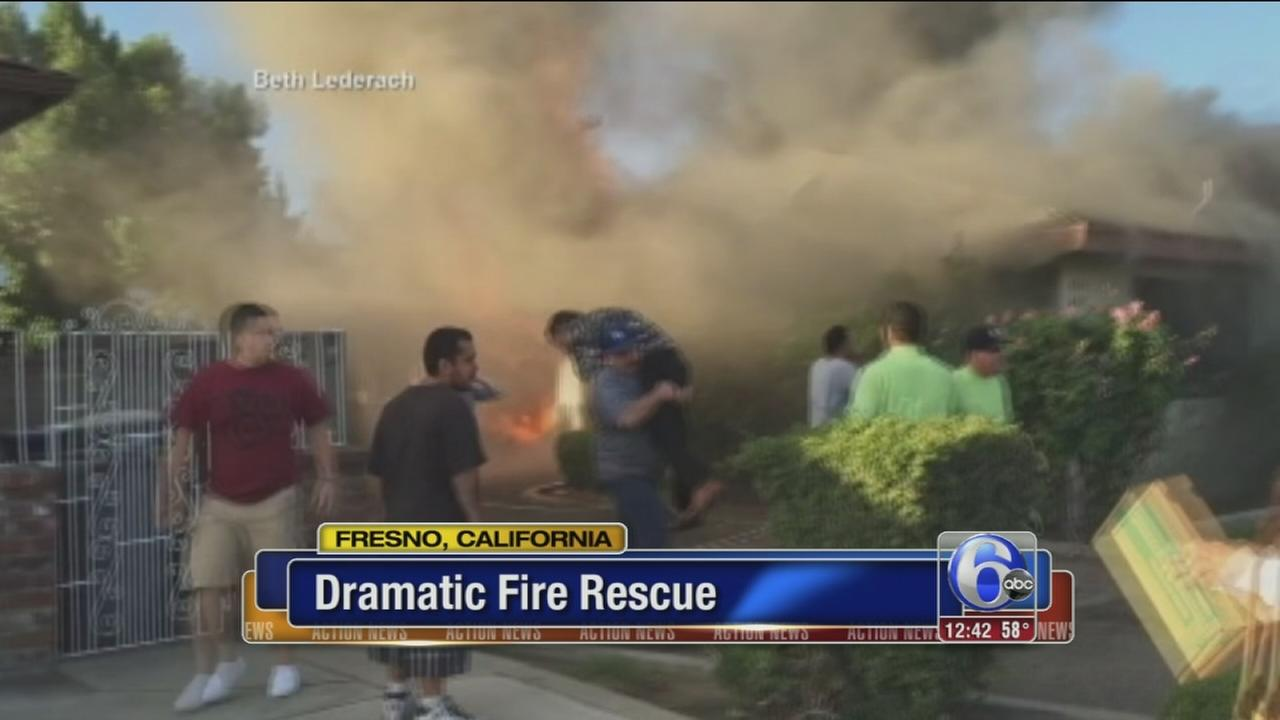 VIDEO: Dramatic fire rescue caught on camera