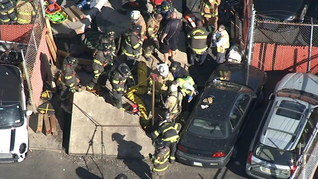 Chopper 6 over rescue scene in Bensalem, Pa.