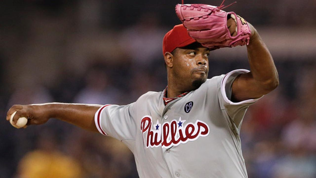 Philadelphia Phillies starting pitcher Jerome Williams pitches to a San Diego Padres batter during the sixth inning of a baseball game game Monday, Sept. 15, 2014, in San Diego.