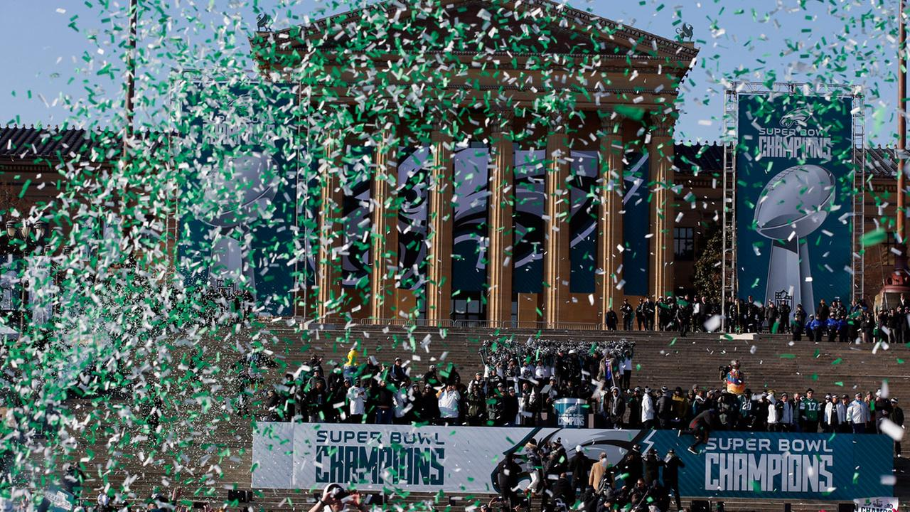 Confetti flies to end a celebration in front of the the Philadelphia Museum of Art after a Super Bowl victory parade for the Philadelphia Eagles football team, Feb. 8, 2018.