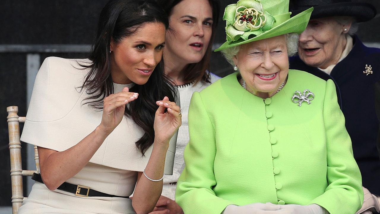 The former Meghan Markle is making her first joint appearance with Queen Elizabeth II on an official royal visit to the northwest of England.