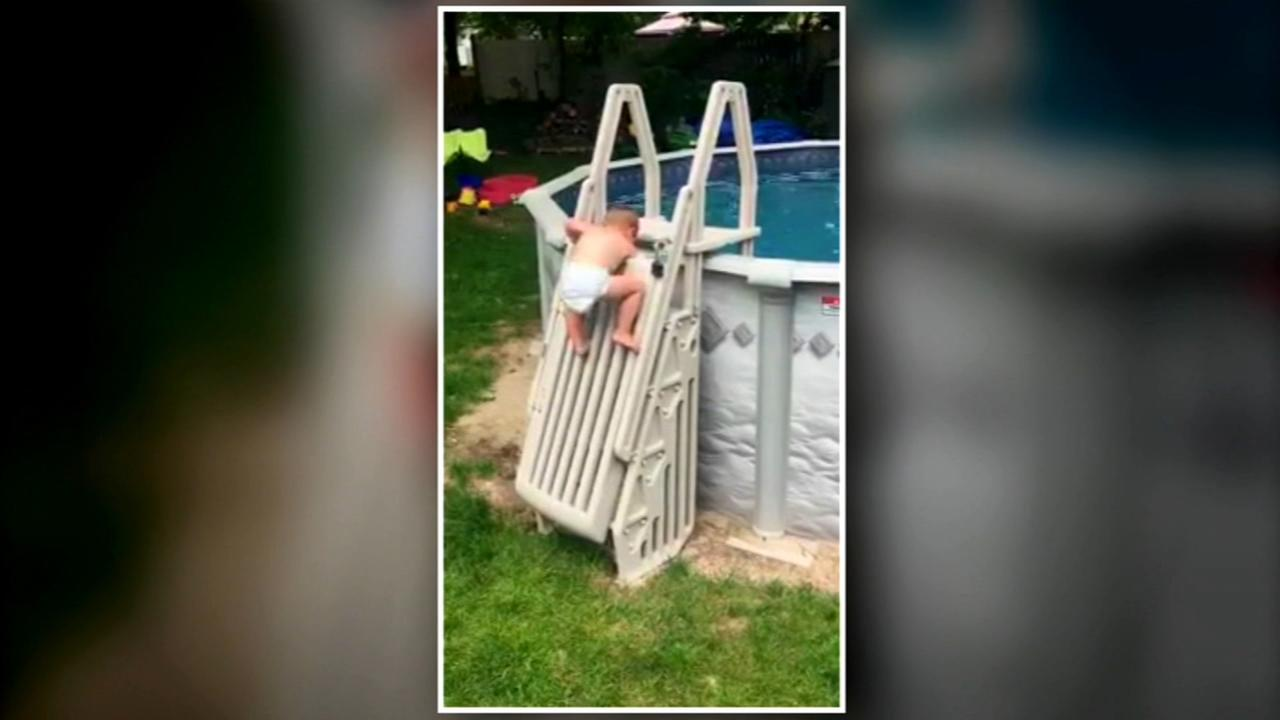 Video of child climbing pool ladder serves as warning for parents