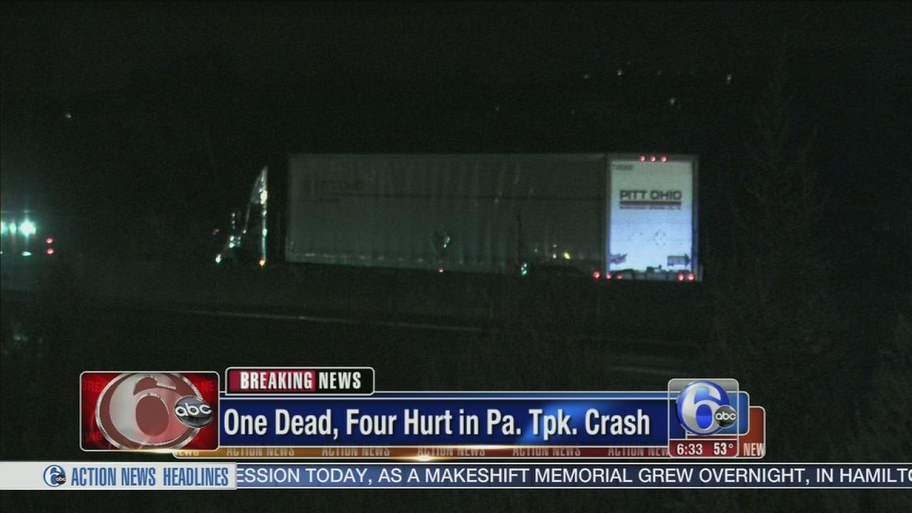 VIDEO: 1 dead, 4 hurt in Pa. Turnpike crash