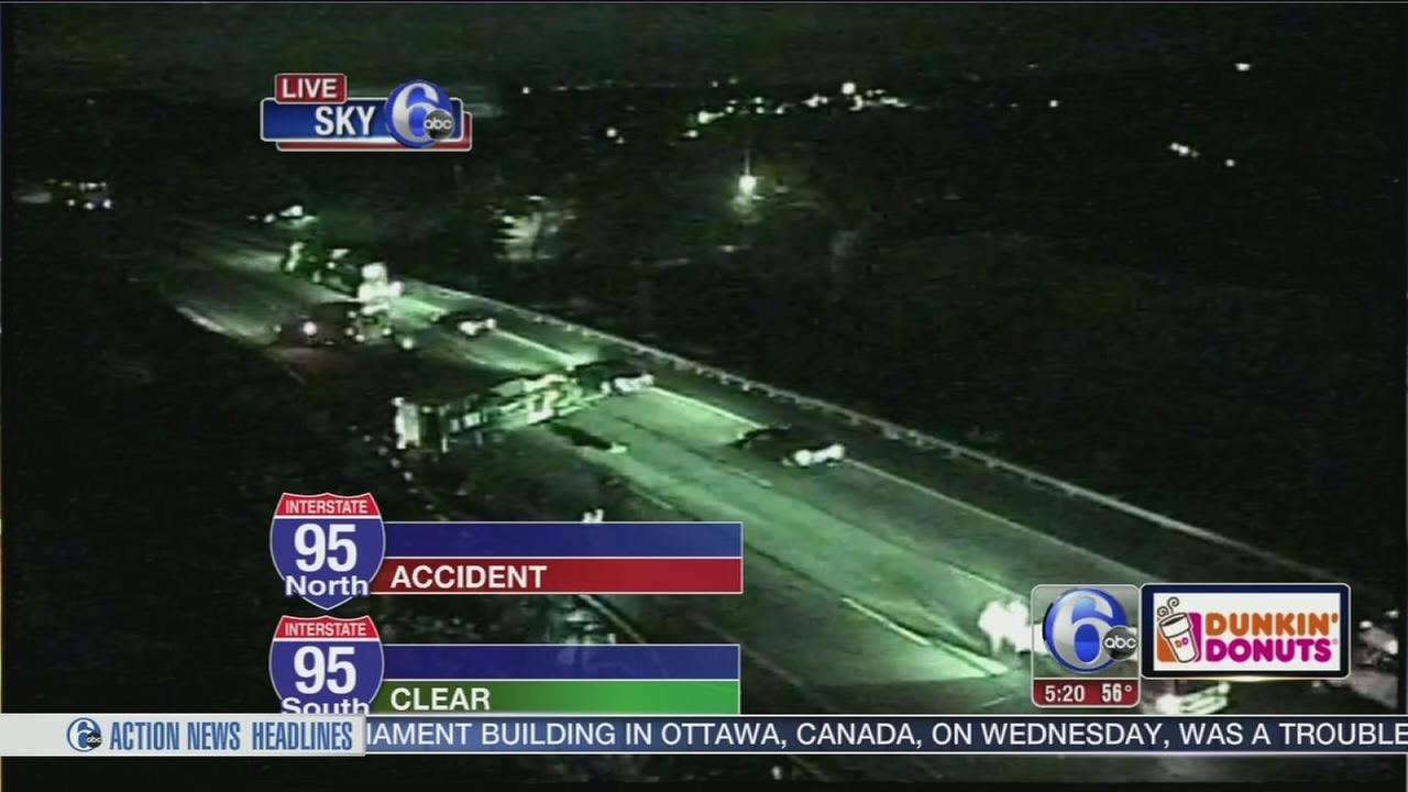 VIDEO: Truck overturns on I-95 in Bucks Co.