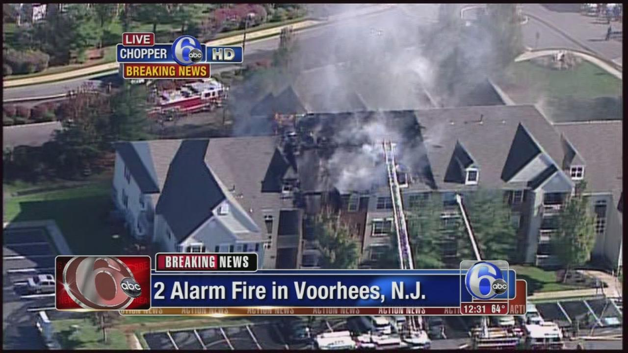 VIDEO: Fire burning in Voorhees, NJ