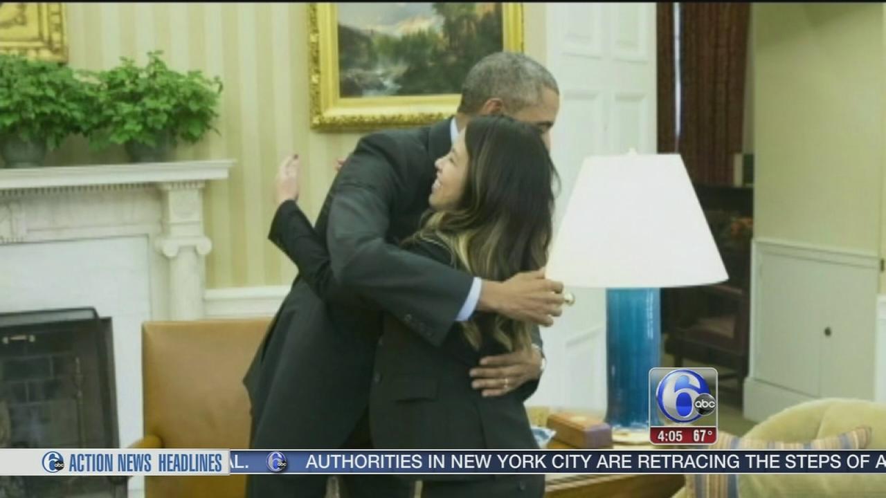 VIDEO: Nina Pham gets a hug from Obama
