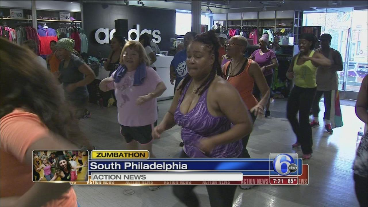 VIDEO: 1st ever Zumbathon at Adidas store on South Street