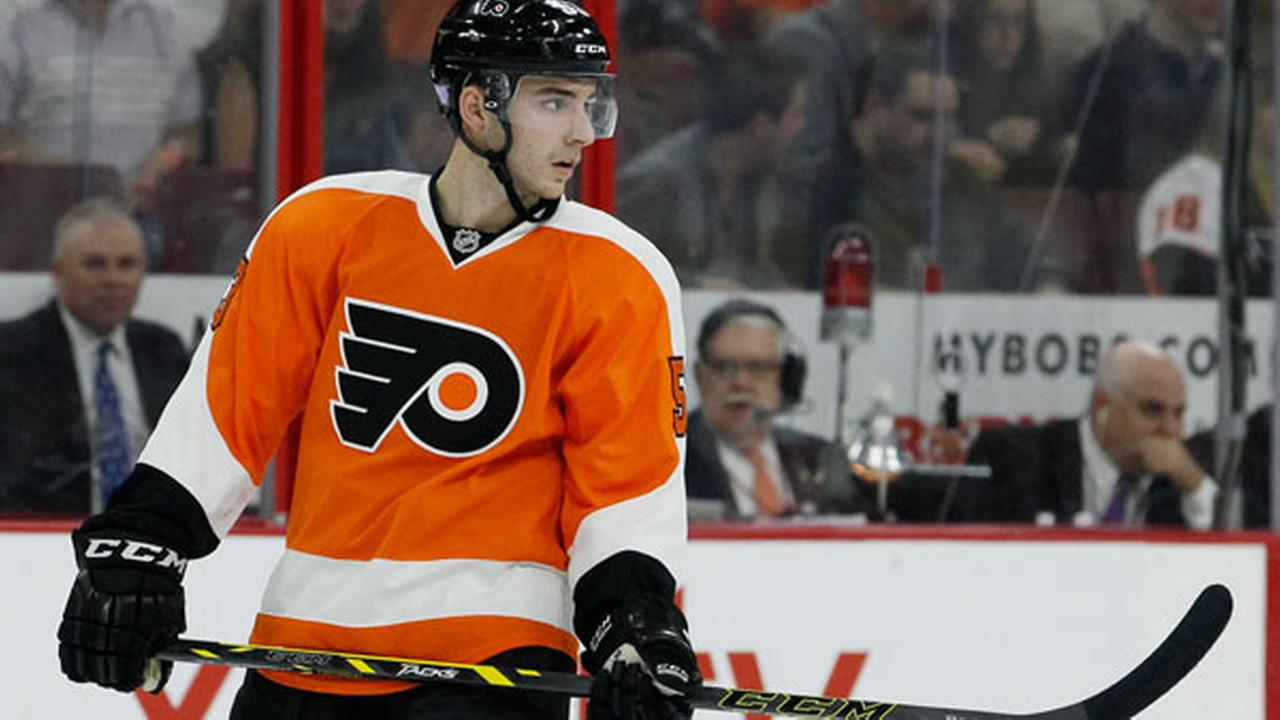 Philadelphia Flyers Shayne Gostisbehere during an NHL hockey game against the Detroit Red Wings, Saturday, Oct. 25, 2014, in Philadelphia. (AP Photo/Tom Mihalek)