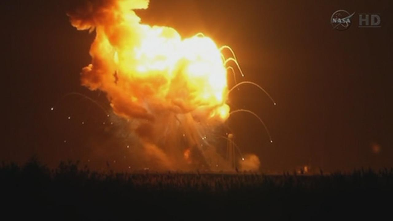 The unmanned Antares rocket exploded moments after liftoff in Virginia Tuesday night.