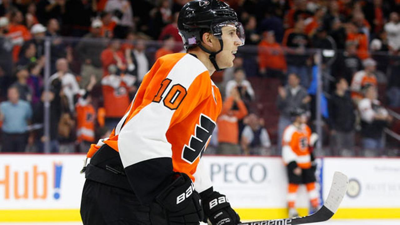 Philadelphia Flyers Brayden Schenn reacts to watching the replay of his goal during the overtime period.