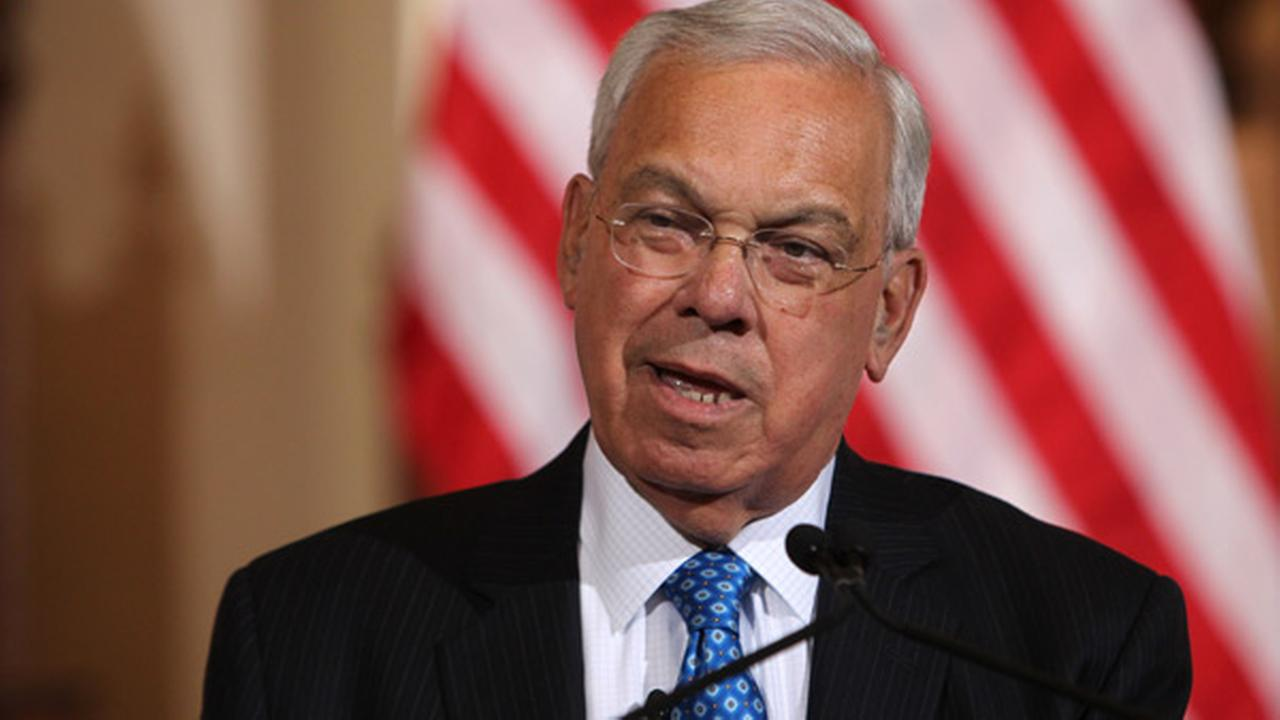 Boston Mayor Thomas Menino speaks at Faneuil Hall, Friday August 9, 2013, in Boston. (AP Photo/Charles Krupa)