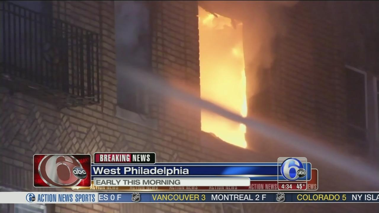VIDEO: Firefighter injured in apartment blaze in West Philadelphia