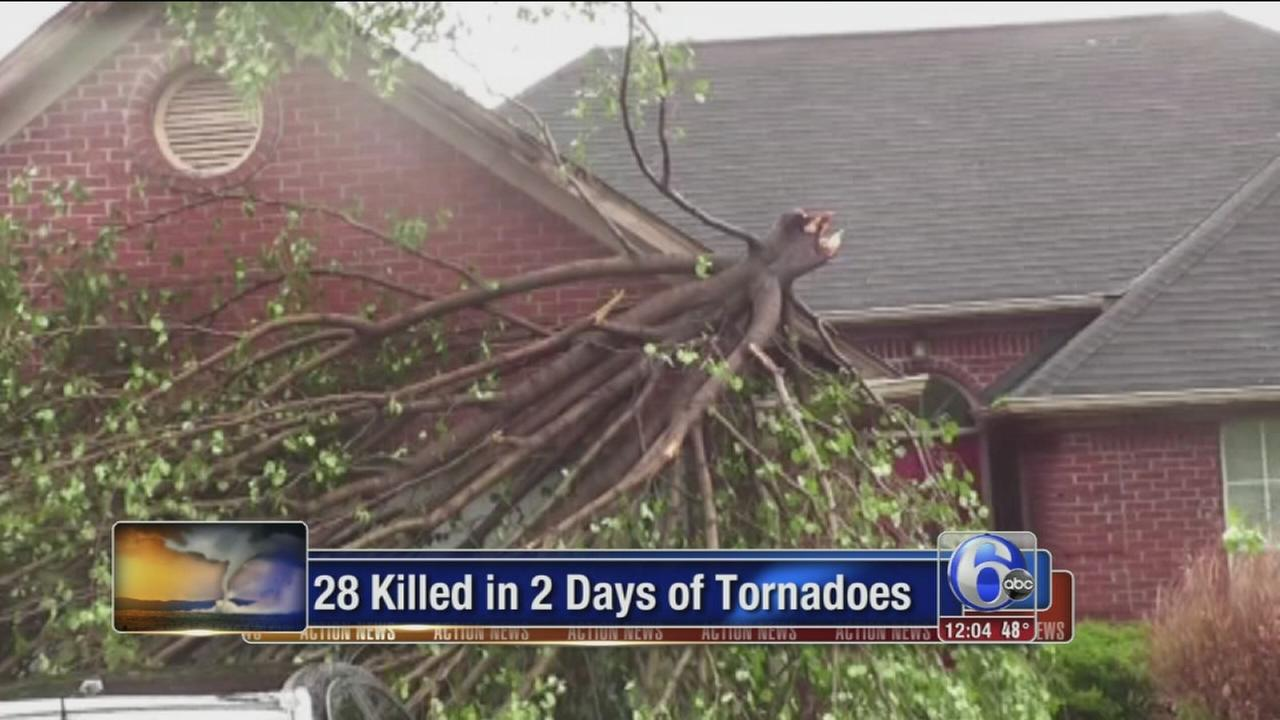 More twisters hitting South; 28 dead in 2 days