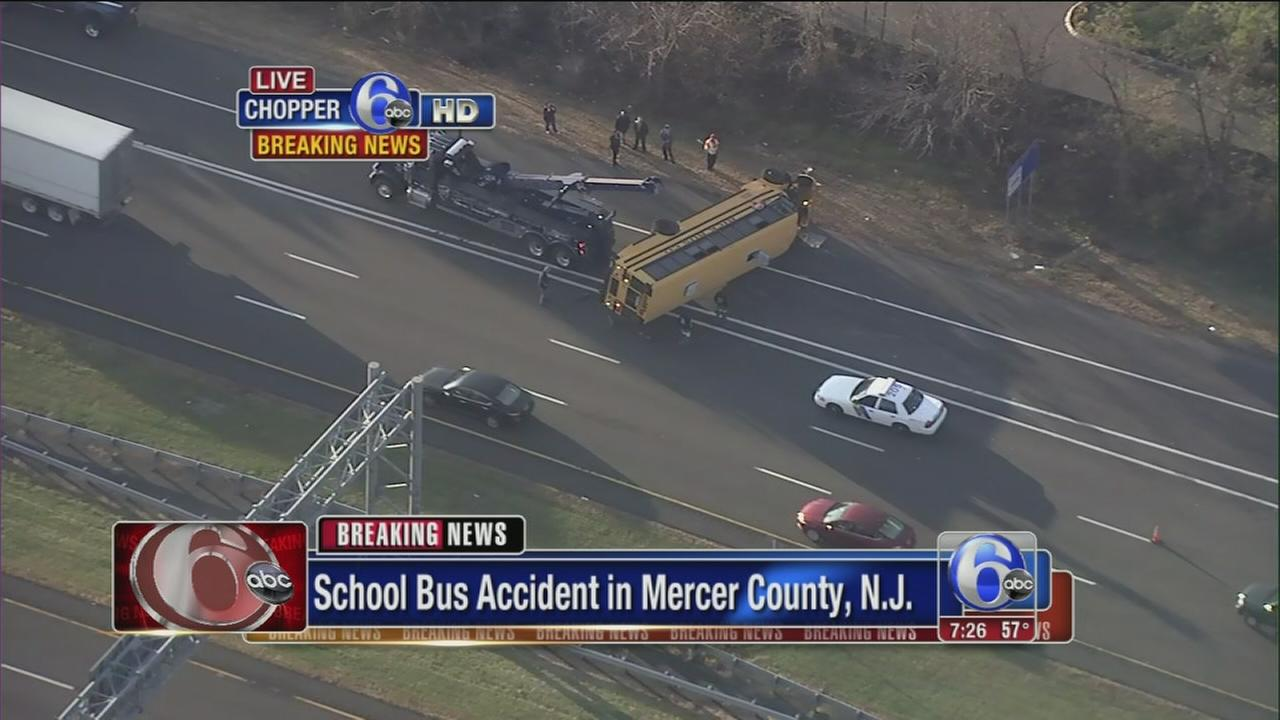 VIDEO: School bus crash slows traffic on I-95 in NJ