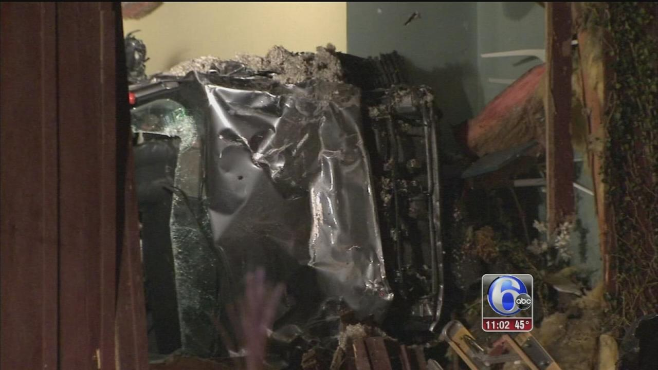 VIDEO: Car goes airborne, slams into 2nd floor of home in Delaware