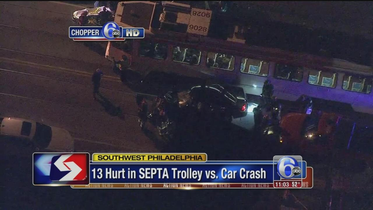 VIDEO: 13 hurt in trolley, car crash
