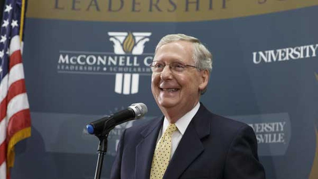 Senate Republican leader Mitch McConnell of Kentucky holds a news conference in Louisville, Ky., Wednesday, Nov. 5, 2014.