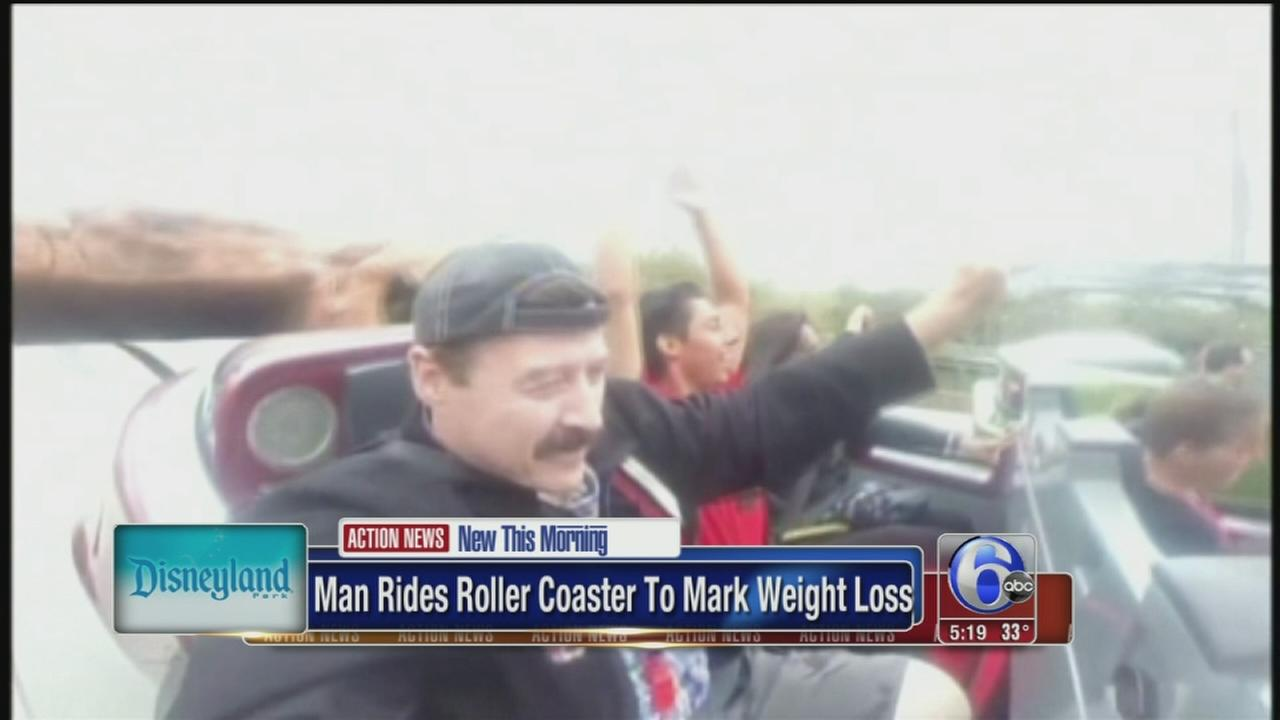 VIDEO: Man marks weight loss with roller coaster ride