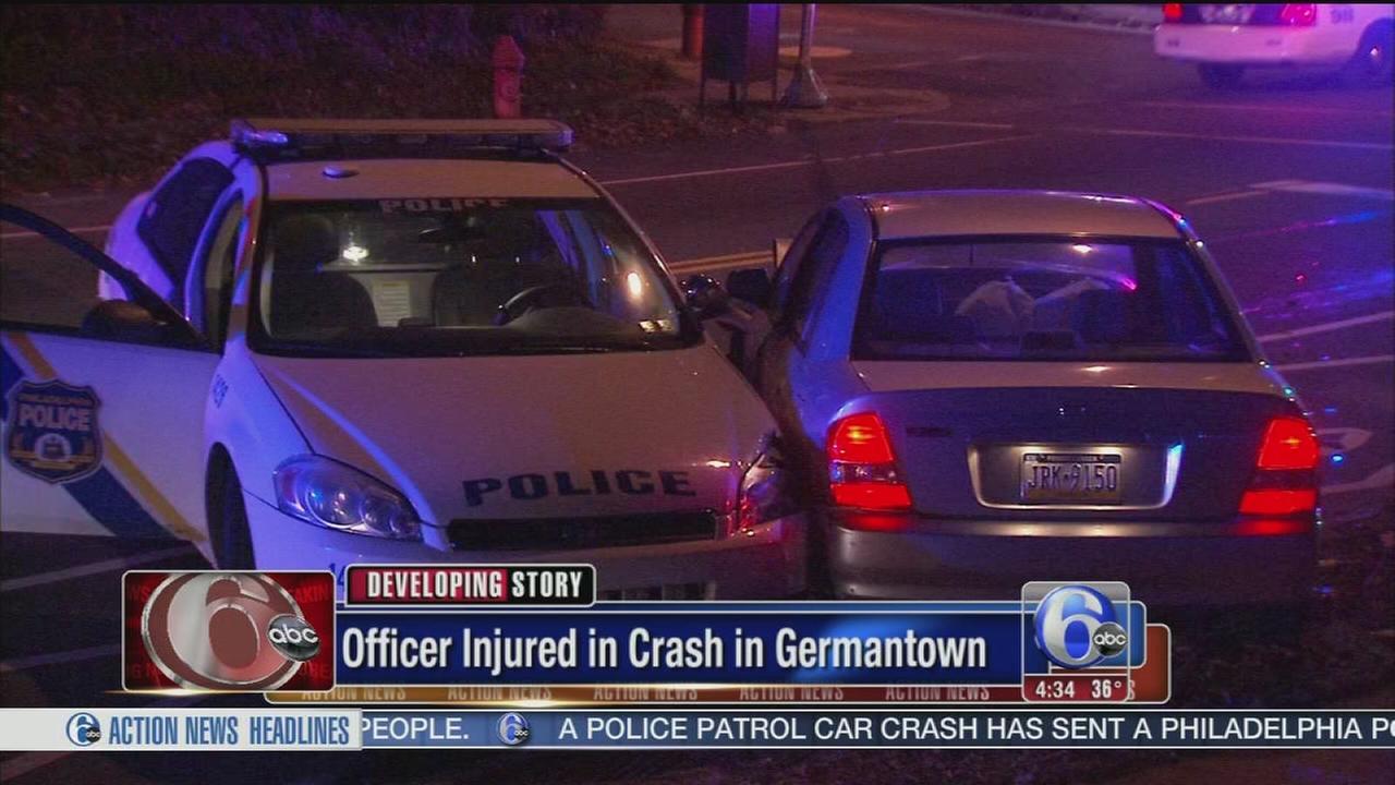 VIDEO: Officer injured in 3-vehicle crash in Germantown