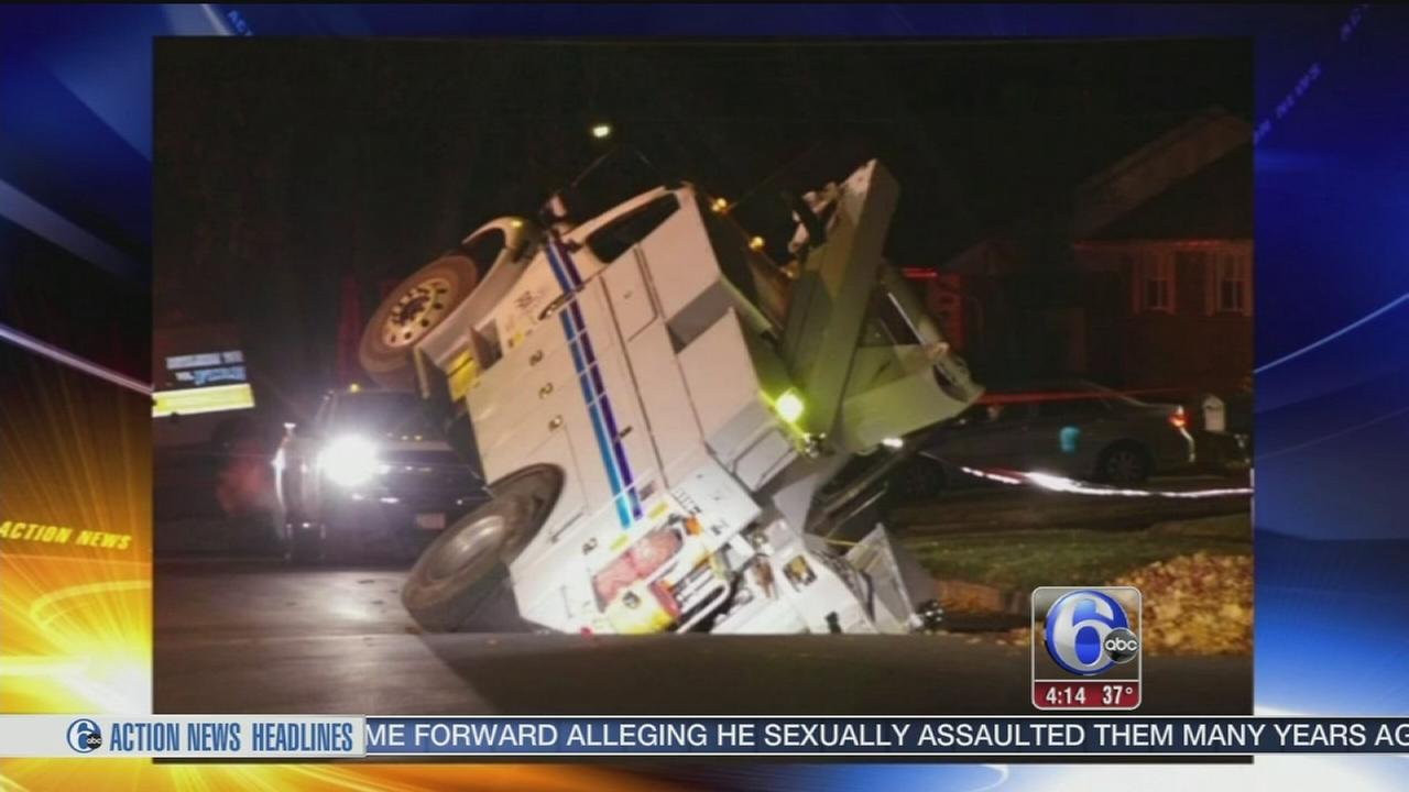 VIDEO: Sinkhole swallows trucks in Bethlehem Twp.