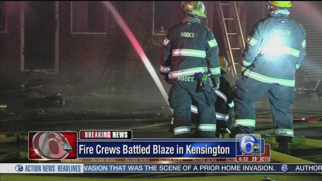 VIDEO: Fire in sports bar spreads to vacant homes in Kensington