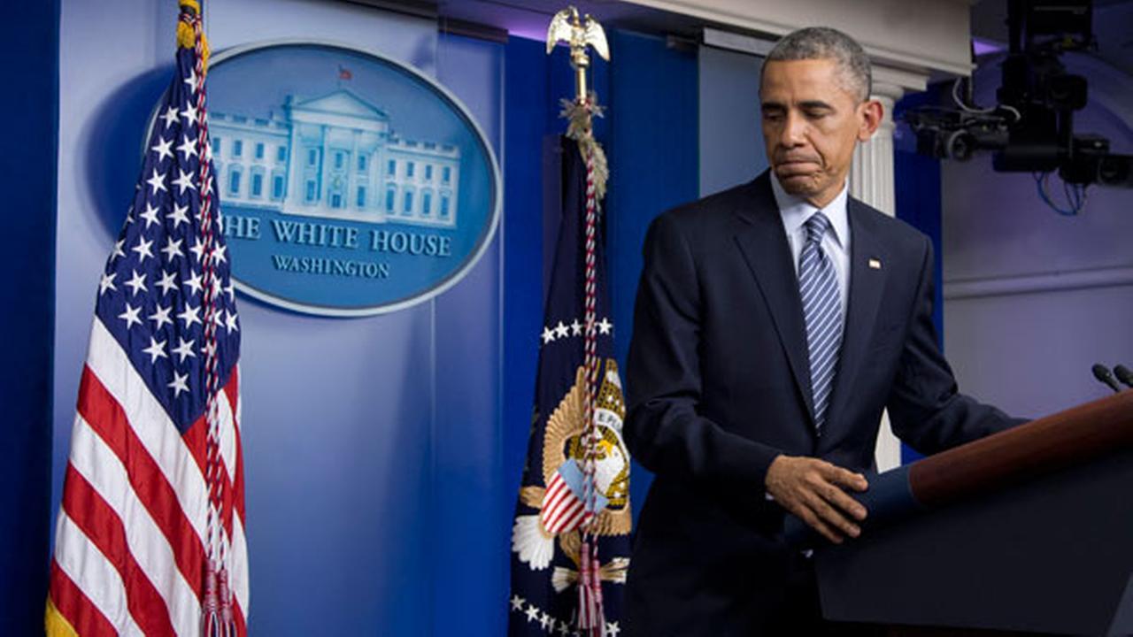 President Barack Obama leaves the Brady Press Briefing Room at the White House in Washington, Monday, Nov. 24, 2014.