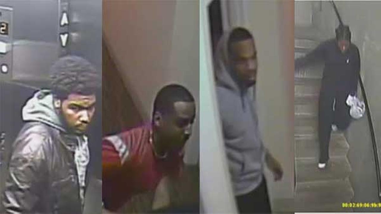 Police are searching for 4 suspects who were caught on surveillance video attacking and robbing a man in North Philadelphia.