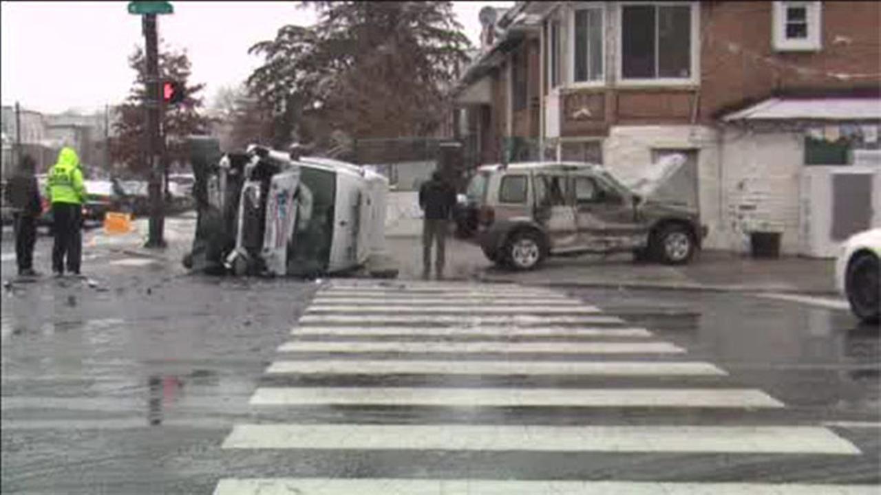 1 injured when ambulance, SUV collide in W. Oak Lane