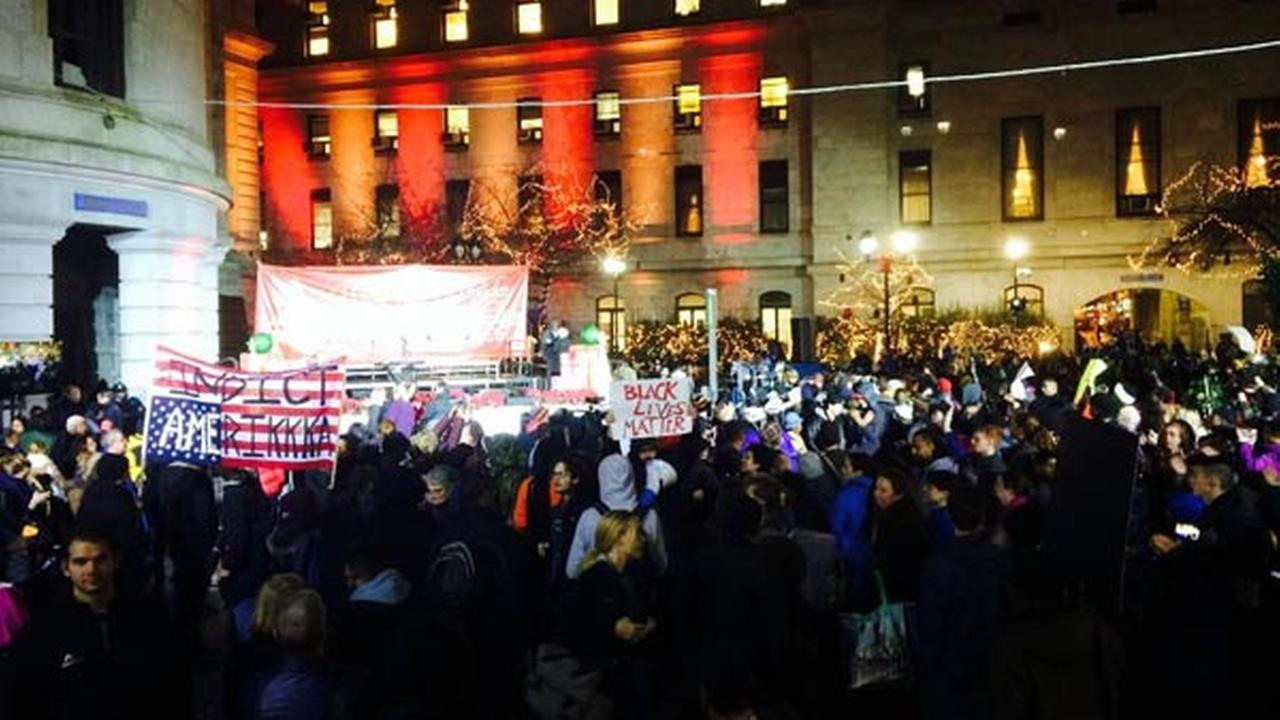 A Ferguson protest started at 30th Street Station and moved to City Hall, interrupting Philadelphias Holiday Tree Lighting on Wednesday, December 3rd.