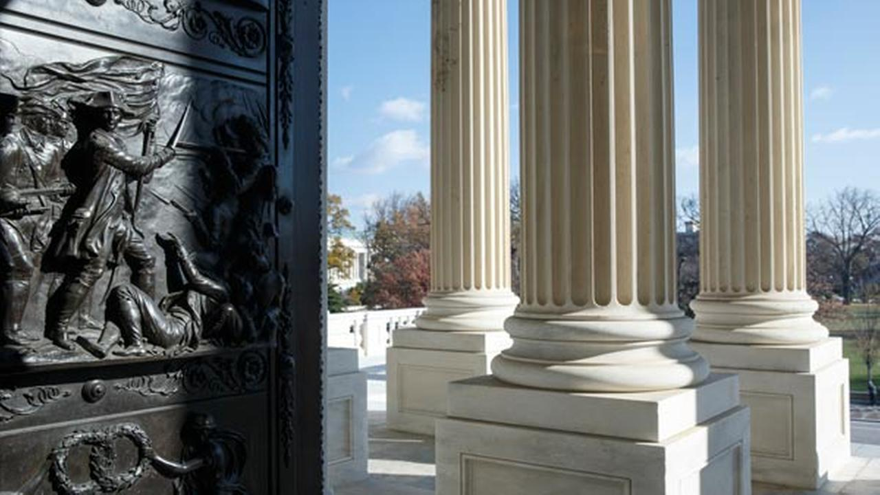 FILE - This Nov. 21, 2014, file photo, shows the entrance to the U.S. Senate on Capitol Hill in Washington.