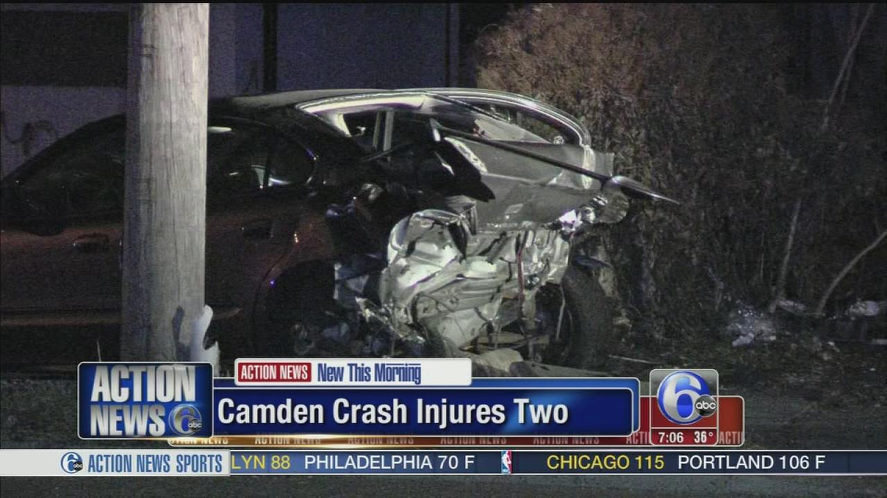 VIDEO: 2 hurt after Mercedes crashes into car in Camden