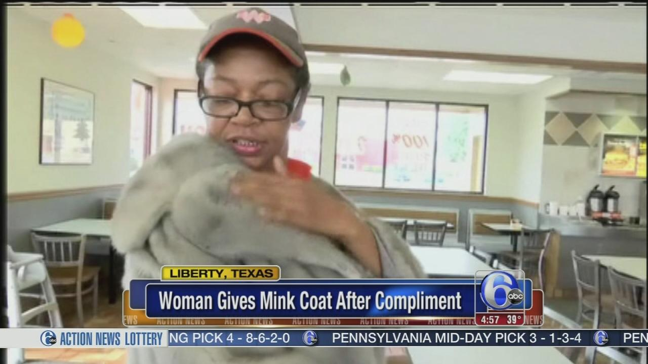 VIDEO: Woman gives mink coat to fast food employee