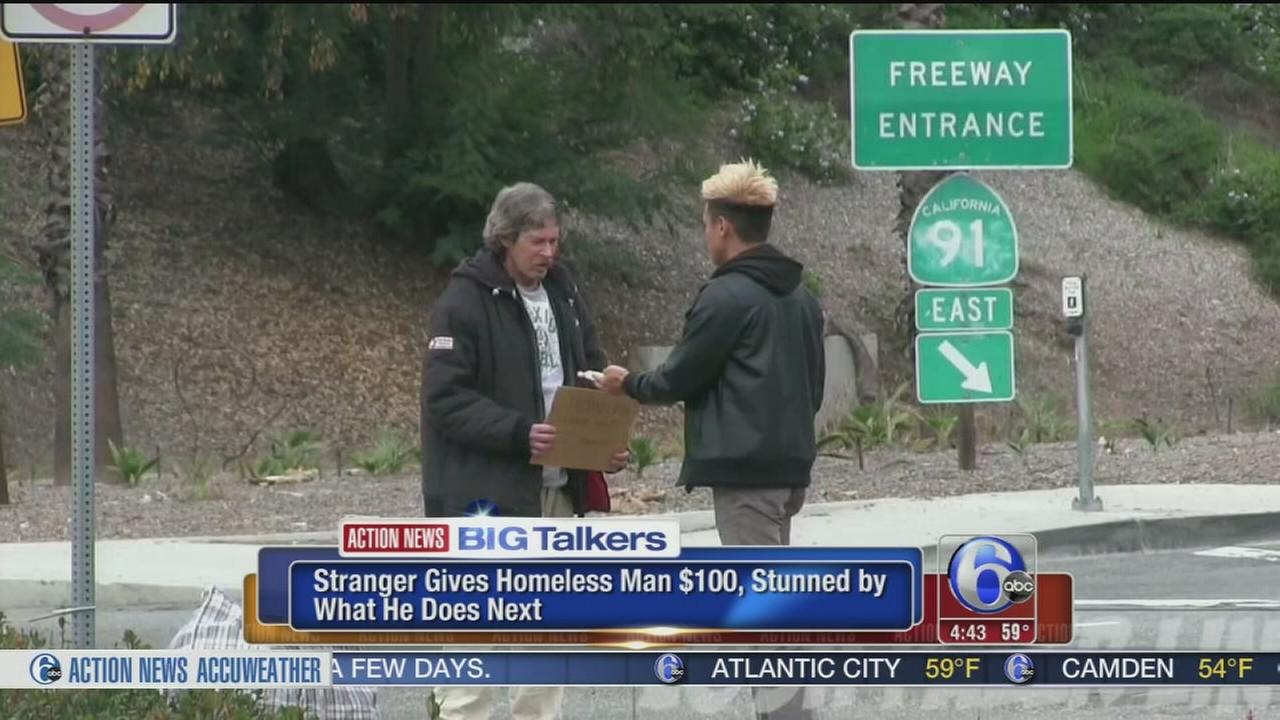 VIDEO: Man gives $100 to homeless man