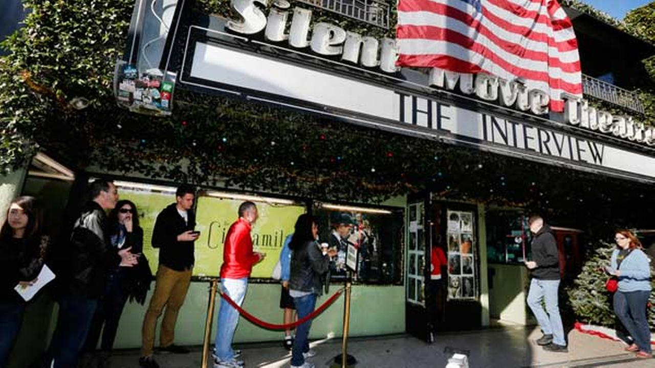 Patrons queue up to see The Interview at the the Cinefamily at Silent Movie Theater in Los Angeles on Thursday, Dec. 25, 2014.