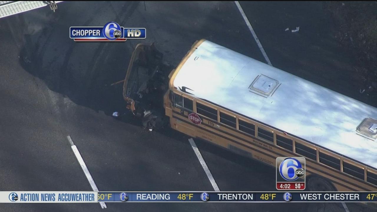 VIDEO: School bus driver burned, causing crash
