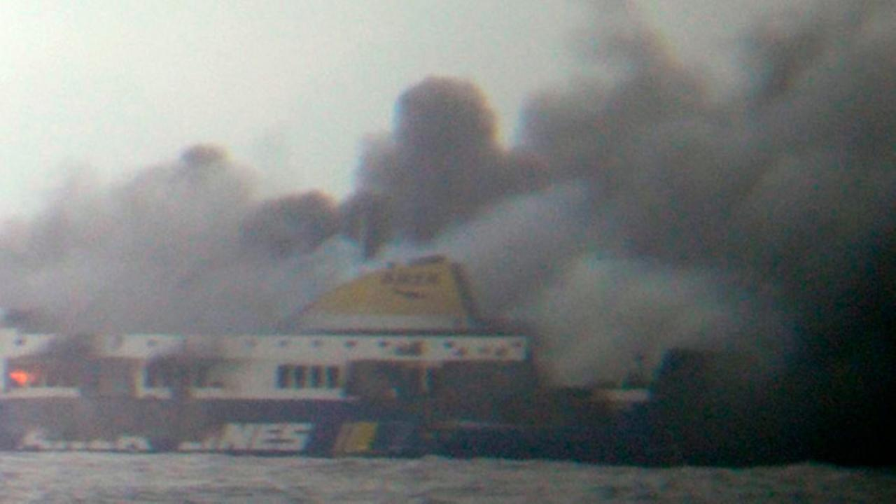 In this photo taken from a nearby ship, smoke rises from the Italian-flagged Norman Atlantic ferry after it caught fire in the Adriatic Sea, Sunday, Dec. 28, 2014.