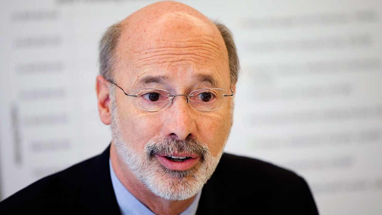 FILE - In a Dec. 17, 2014 file photo, Pennsylvania Gov.-elect Tom Wolf discusses the state budget during a news conference at the Free Library of Philadelphia, in Philadelphia.