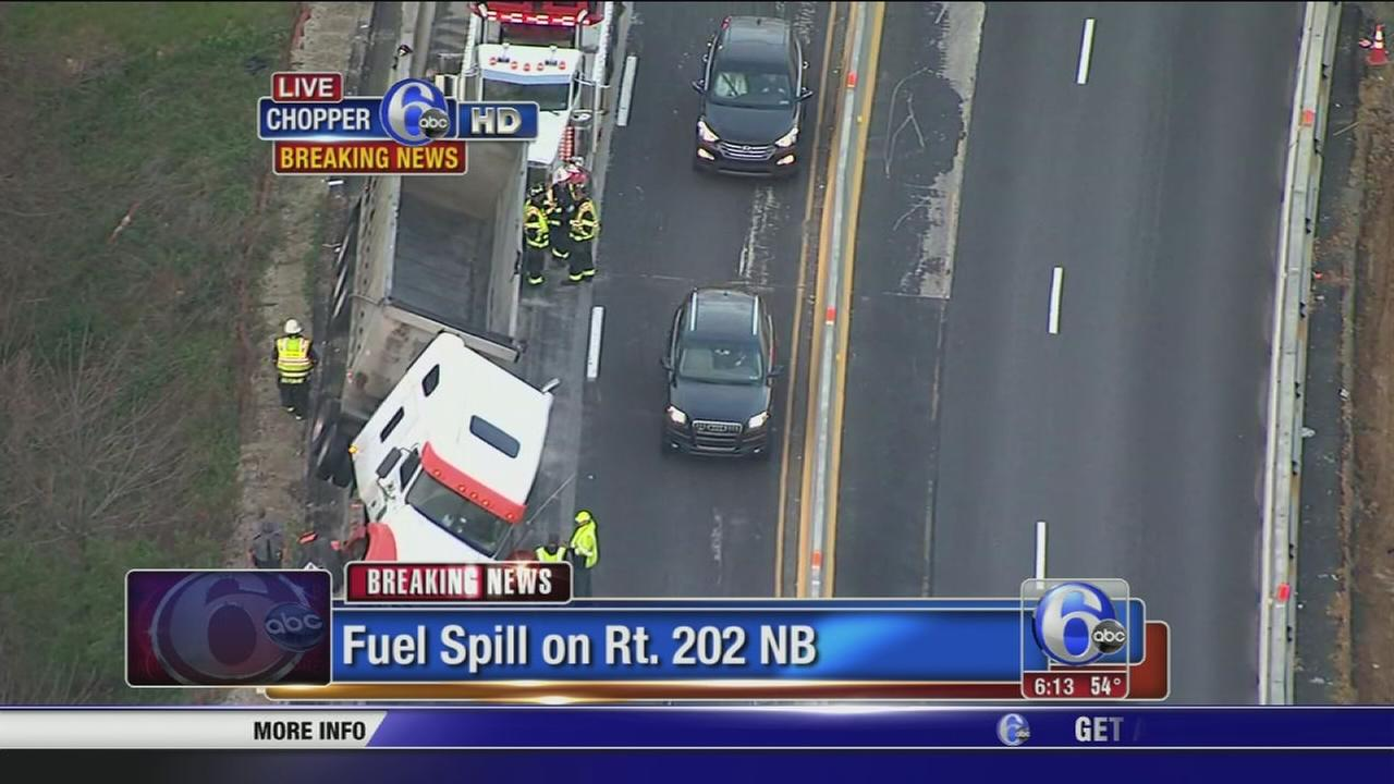 Truck crashes, spills fuel on Route 202 in Frazer
