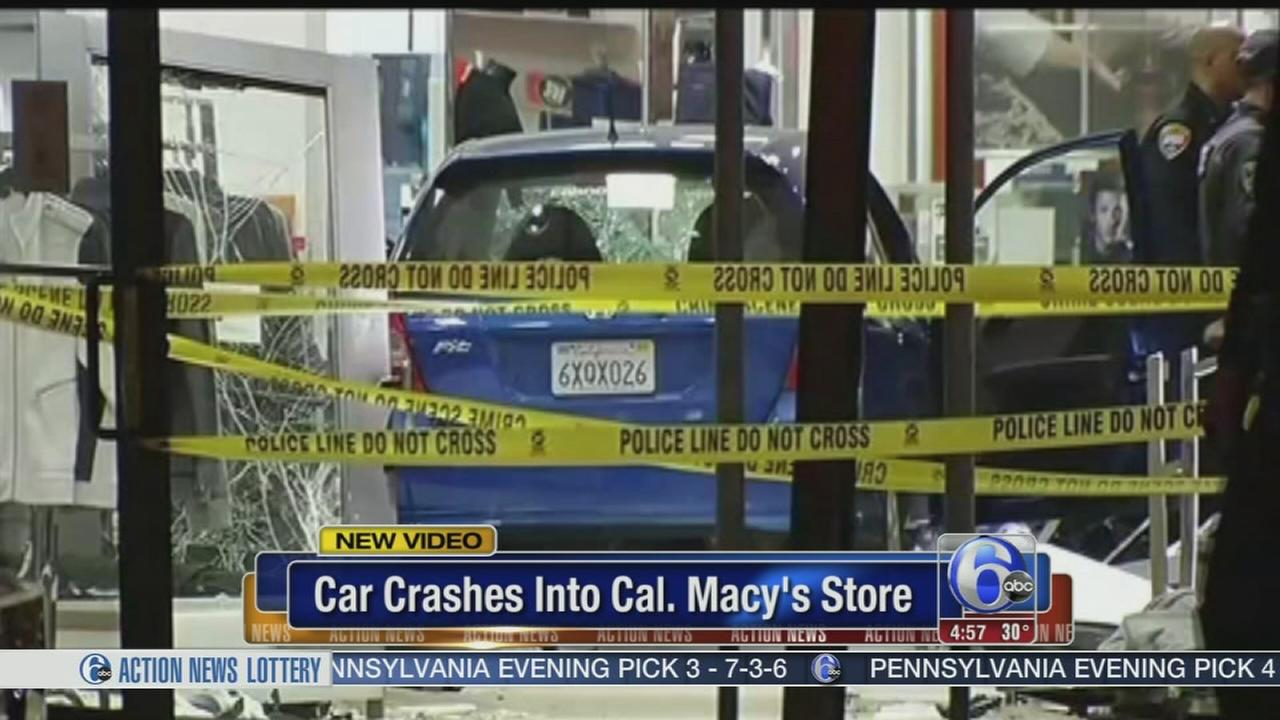 VIDEO: Car crashes into California Macys store