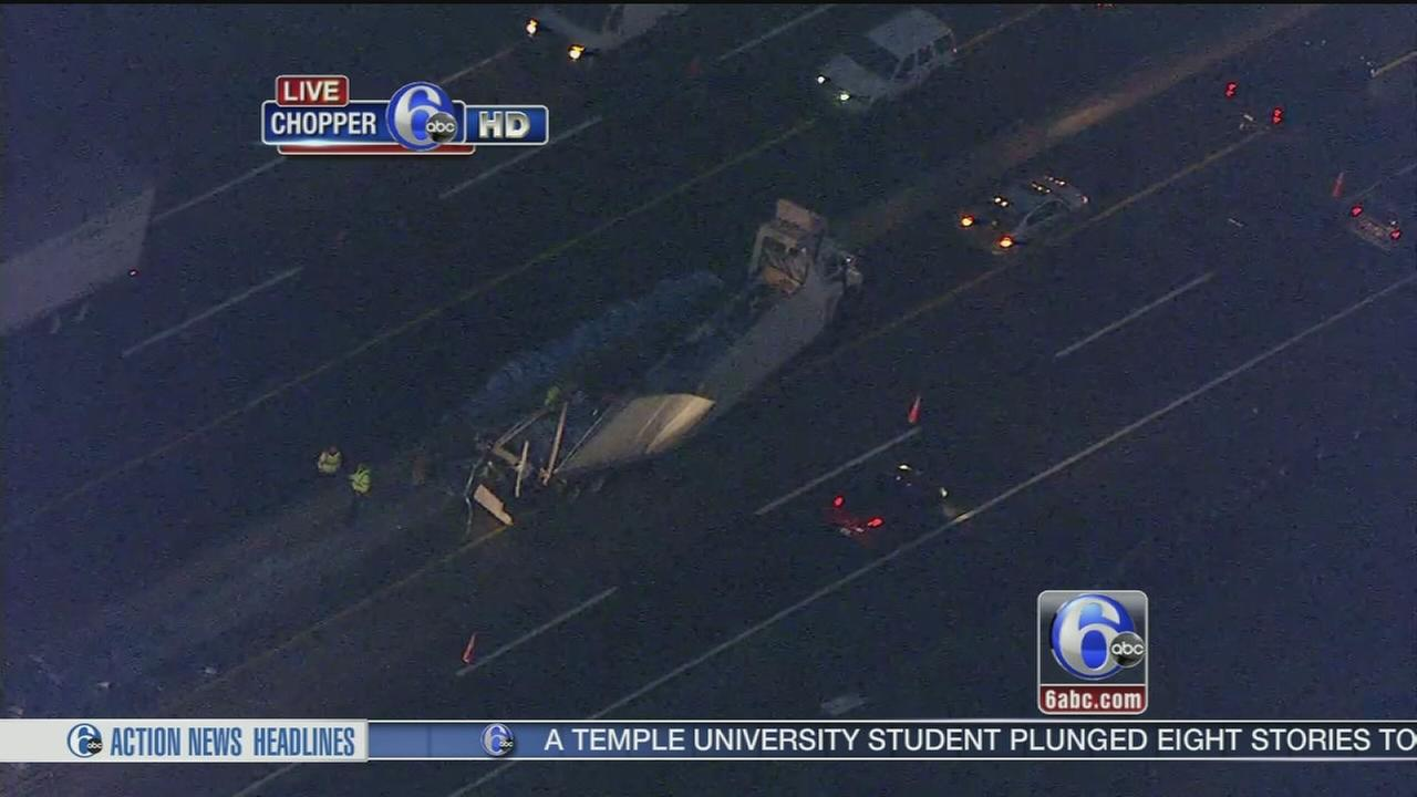 VIDEO: Truck hauling rock salt crashes on NJ Tpk.