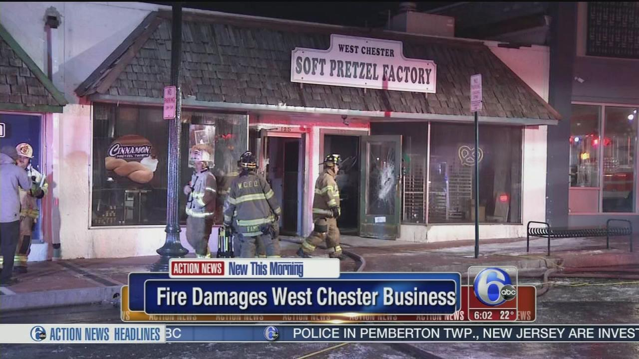 VIDEO: Fire damages Pretzel Factory store in West Chester