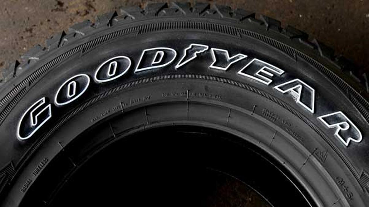 A Goodyear logo is displayed on a Goodyear tire, in Philadelphia.