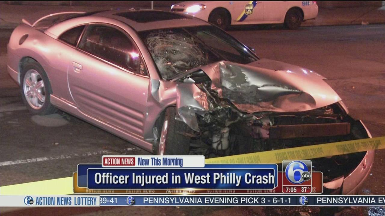 VIDEO: Officer hurt in W. Phila. crash
