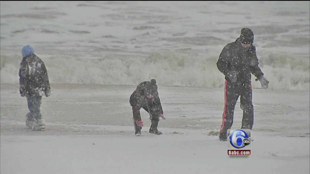 VIDEO: Moods are sunny at the shore after the snow