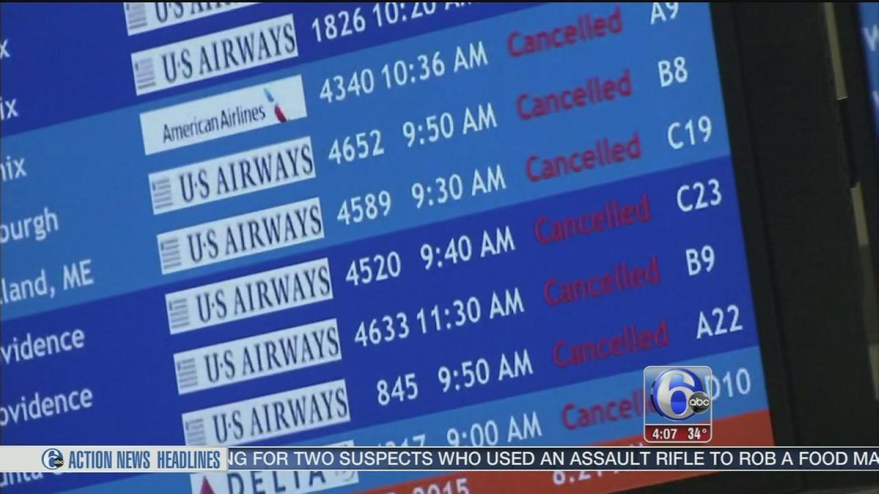 VIDEO: Storm cancels most flights at PHL
