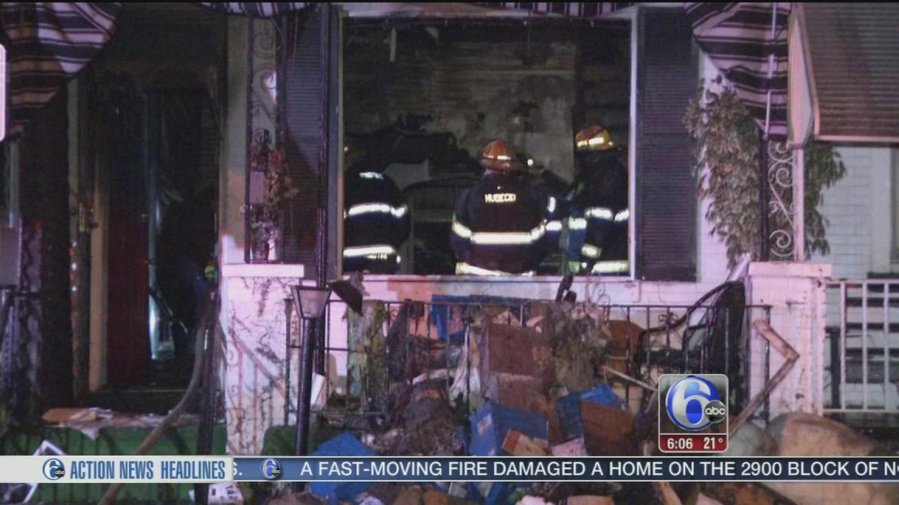 VIDEO: Flames damage house in North Philadelphia