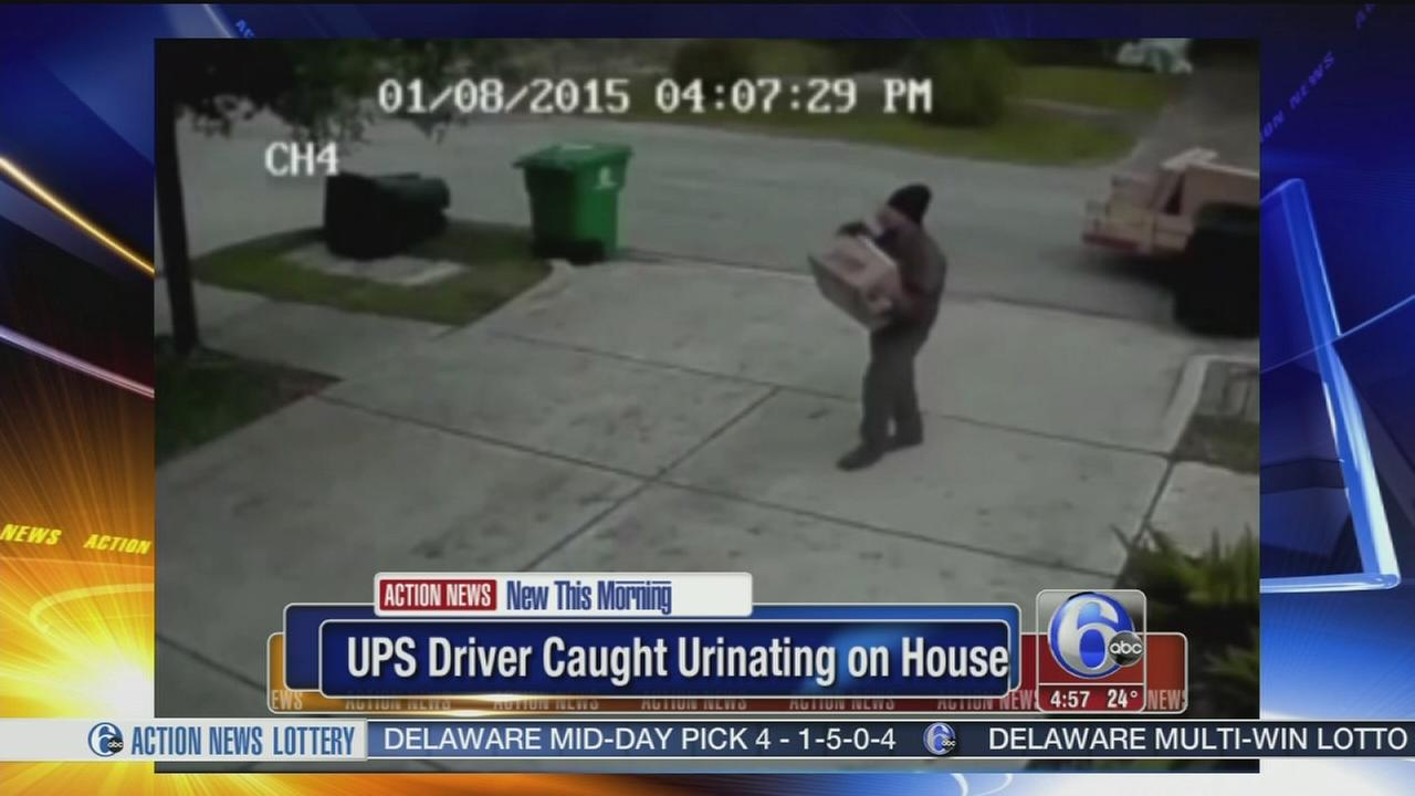 VIDEO: UPS driver fired, caught relieving himself on house