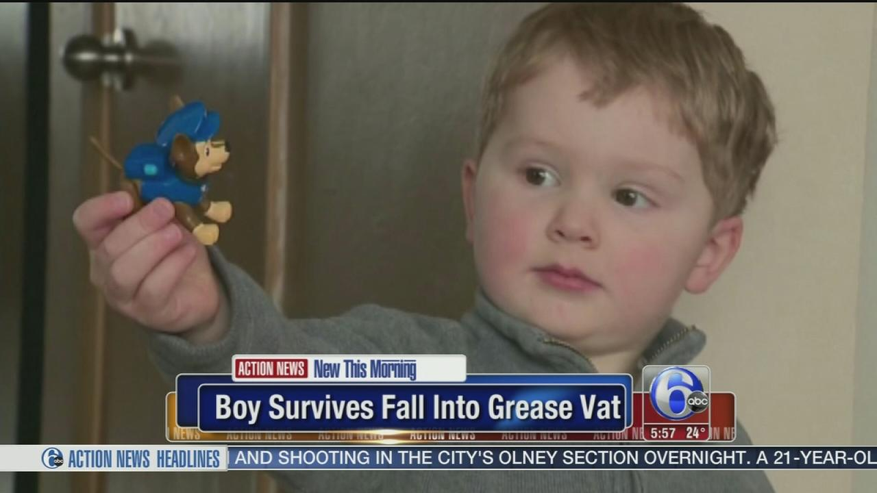 VIDEO: Boy survives fall into grease pit