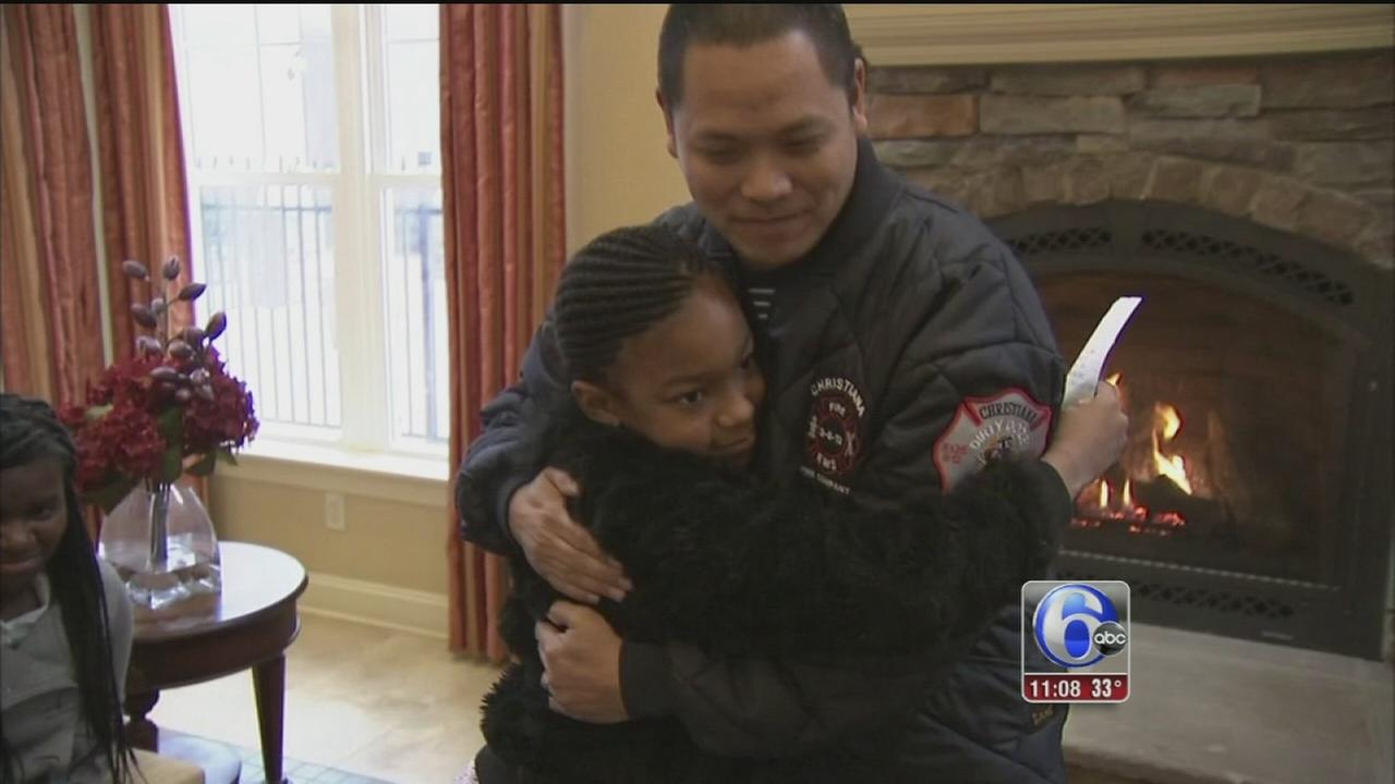 VIDEO: Child rescued from icy pond thanks firefighter who saved her