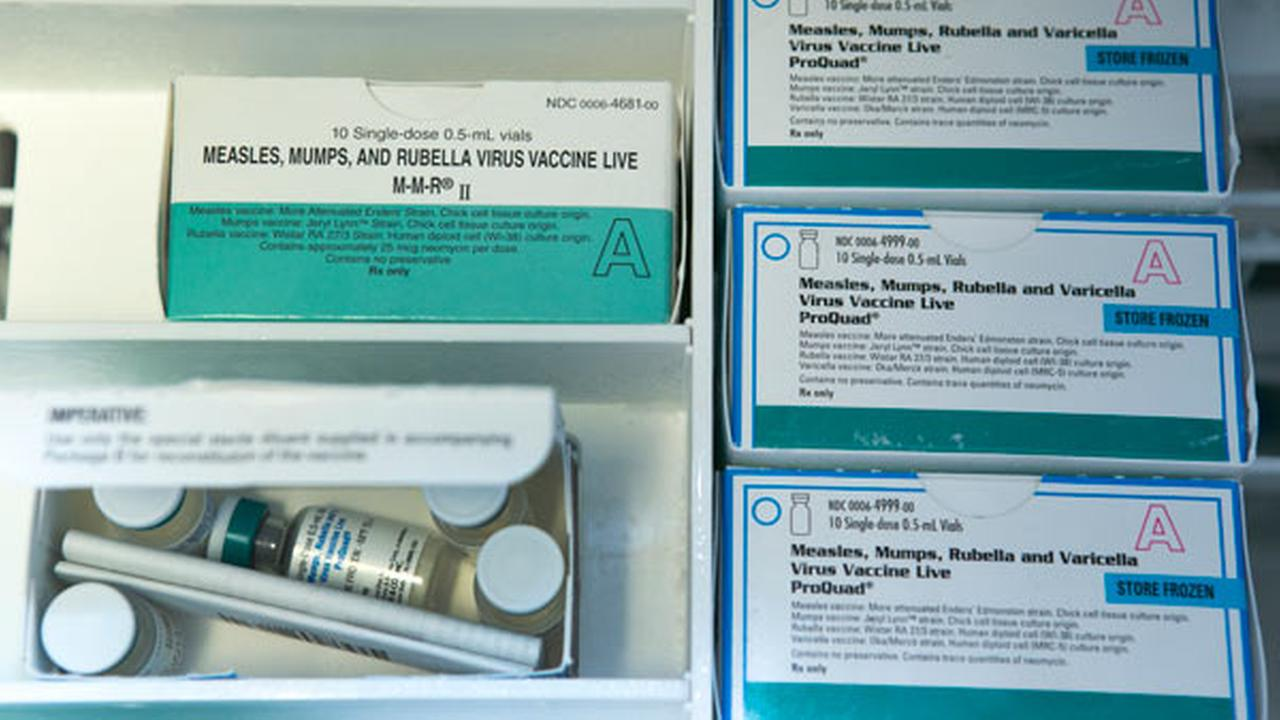 Boxes of single-doses vials of the measles-mumps-rubella virus vaccine live, or MMR vaccine and ProQuad vaccine are kept frozen inside a freezer in Northridge, Calif.,
